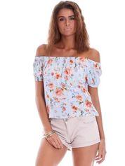 Niebieska bluzka hiszpanka z motywem kwiatowym