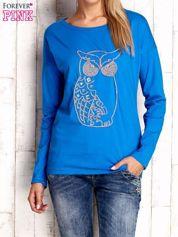Niebieska bluzka z aplikacją w kształcie sowy