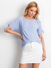 Niebieska bluzka z perełkami