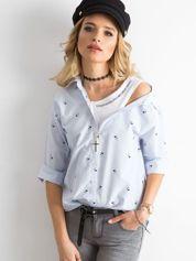 Niebieska damska koszula w paski