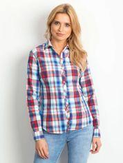 Niebieska koszula we wzór kolorowej kratki