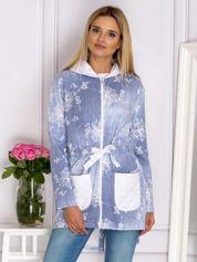 Niebieska rozpinana bluza w kwiaty z kapturem