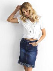 Niebieska spódnica jeansowa z lampasami