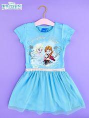 Niebieska sukienka dla dziewczynki z tiulowym wykończeniem FROZEN