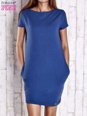 Niebieska sukienka dresowa z kieszeniami