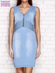 Niebieska sukienka jeansowa z suwakiem