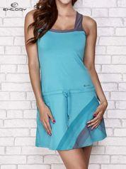 Niebieska sukienka sportowa z szarymi wstawkami