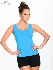 Niebieski damski top sportowy z wycięciem na plecach