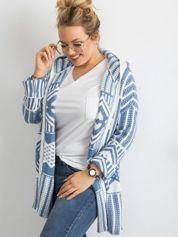 Niebieski sweter z kapturem PLUS SIZE