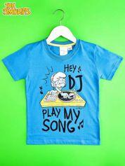 Niebieski t-shirt chłopięcy SMERFY