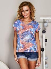 Niebieski t-shirt exotic print