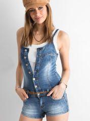 Niebieski zapinany jeansowy kombinezon