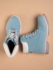 Niebieskie buty trekkingowe damskie traperki Shimmy