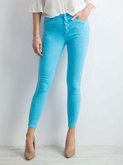 Niebieskie jeansy damskie high waist