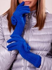 Niebieskie rękawiczki z kokardką i długim ściągaczem