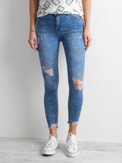 Niebieskie rurki jeansowe z wysokim stanem