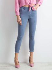 Niebieskie spodnie z wysokim stanem