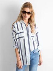 Niebiesko-biała koszula oversize w paski