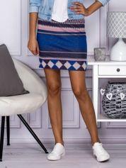 Niebiesko-różowa spódnica w azteckie wzory