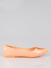 Pastelowopomarańczowe baleriny z sercem