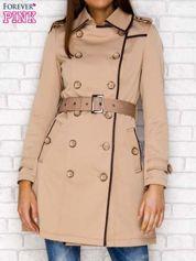 Płaszcz ze skórzaną lamówką beżowy