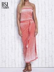 Pomarańczowa dekatyzowana sukienka maxi na gumkę