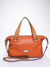 Pomarańczowa torba damska z ażurowym wykończeniem