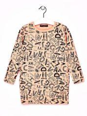 Pomarańczowa tunika dla dziewczynki z nadrukiem literek