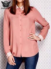 Różowa koszula z haftowanym wykończeniem