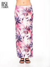 Różowa spódnica maxi z rozporkiem w egzotyczny nadruk palm