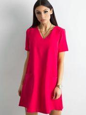 Różowa sukienka damska z kieszeniami