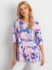 Różowa tunika w duże kwiatowe wzory