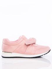Różowe buty sportowe z ozdobną kokardką na sprężystej podeszwie ze złotą wstawką na pięcie