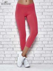 Różowe legginsy sportowe z aplikacją z dżetów na nogawkach