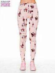 Różowe legginsy z nadrukiem kobiet w stylu retro