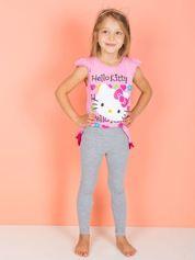 Różowy t-shirt dla dziewczynki z falbankami HELLO KITTY