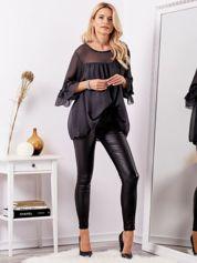 SCANDEZZA Czarne woskowane spodnie high waist z suwakami