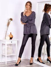 SCANDEZZA Czarne woskowane spodnie rurki skinny