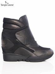 Sergio Leone czarno-srebrne przecierane, metaliczne sneakersy z wysoką pikowaną cholewką