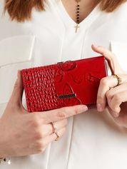 Skórzany portfel damski w motyle czerwony