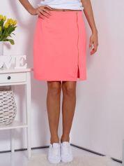 Spódnica dresowa fluo różowa z suwakiem