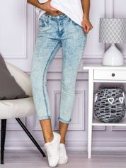 Spodnie jeansowe rurki dekatyzowane niebieskie