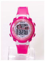 Sportowy zegarek wielofunkcyjny ,wodoodporny z podświetlaną tarczą i alarmem. Wygodny silikonowy pasek.