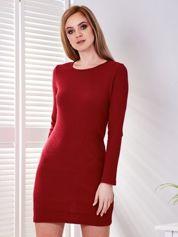 Sukienka bordowa w prążek z wycięciem z tyłu