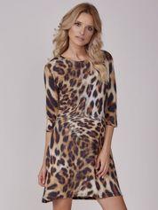 Sukienka brązowa we wzór animal print