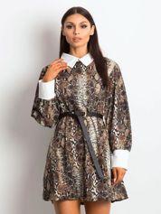 Sukienka czarna z kołnierzykiem z motywem skóry węża