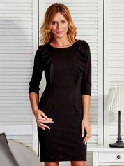 Sukienka damska z ukośnymi falbanami czarna