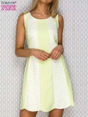 Sukienka dzienna z koronkowymi wstawkami limonkowa