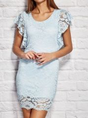 Sukienka koktajlowa koronkowa niebieska
