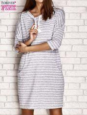 Sukienka oversize w paski szara